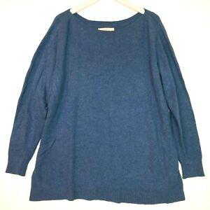 loft boat neck soft long sleeve sweater blue plus size 16/18