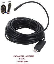 Endoscopio USB cable de color 10 Mètres - Mini DV Cámara espía- 6LED- CÁMARA 7mm