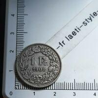 I08403 1 franc suisse 1908 pièce de monnaie argent silver coin