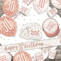 Rose Gold Glitz 30th Birthday Party Supplies Tableware, Decorations, Balloons