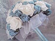 BABY AZZURRO & white wedding Bridesmaids FIORE BOUQUET Diamante's & Perle