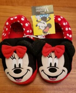 NEW Minnie Mouse Girls Toddler Slippers L 9-10 XL 11-12 Red Black Disney #33619