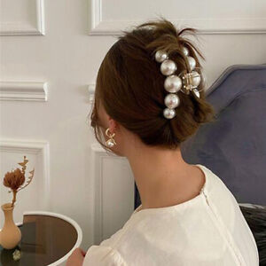 Big Pearls Acrylic Hair Claw Large Size Vintage Hair Clip for Women Banana Clip