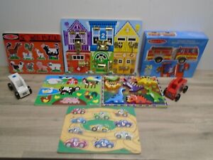Melissa & Doug Toy Bundle - Latchboard, Emergency Vehicles, Sound Puzzle, Jigsaw