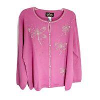 Bob Mackie Pink Beaded Dragon Fly Crew Neck Cardigan Sweater Women's XL New