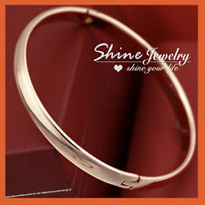 18K ROSE GOLD GF SOLID LADIES CLASSIC ROUND 6MM BANGLE BRACELET MOTHER DAY GIFT