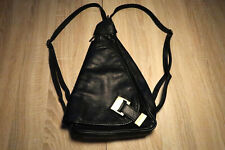 Black Genuine Leather Ladies Backpack - Triangular - made in Italy