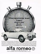 1962 Alfa Romeo White Giulietta Spider stopwatch Vtg Print Ad
