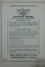 Sears db 127.400 Continental Engine Operator, Parts & Repair Manual Tractor 20pg