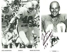 DICK ANDERSON  MIAMI DOLPHINS SIGNED VERIZON PROMO  8X10 PHOTO