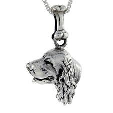 "Sterling Silver English Cocker Spaniel Dog Head Pendant / Charm, 18"" Box Chain"