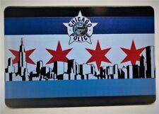 "CHICAGO FLAG, POLICE BADGE,Billet Aluminum Trailer Hitch plug Cover, UV, 4"" X 6"""