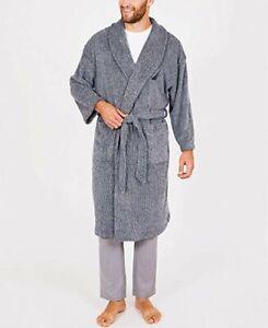 NAUTICA Men's Blue Long Sleeve Cozy Soft Plush Shawl Collar Robe