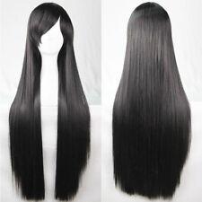 80cm Straight Sleek Long Full Hair Wigs Side Bangs Costume Cosplay Black Womens