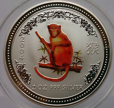 "Australien Lunar 1 ""Jahr des Affen"" Monkey 2004 color 2Oz Silber 2Dollars top!!!"
