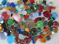 VTG GLASS FLATBACKS CABACHONS & BOMBE LOOSE LOT 100 pc JEWELRY REPAIR CRAFTS MIX