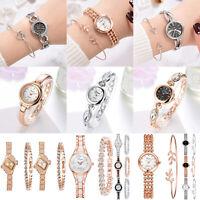 Women Fashion Bracelet Crystal Round Dial Watch Quartz Bangle Wrist Watches Gift