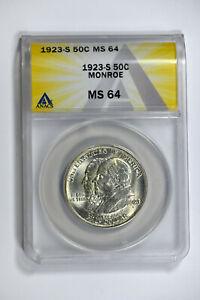 1923-S ANACS MS64 Classic Commemorative Monroe Half Dollar-Really Nice Luster!!