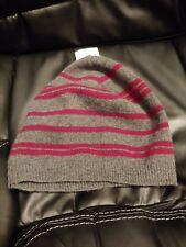 Qi 100% Cashmere Hat / Beanie / Skullcap Charcoal w/ Burgundy Stripes