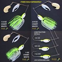 Bassdozer spinnerbaits WILLOW INDIANA CHARTREUSE WHITE spinner bait baits