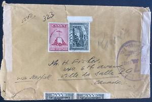 1948 Athens Greece Censored Cover To Canada Via New York