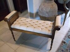 Faux bamboo cane upholstered bench