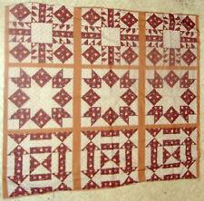 "Ozark Calico cheater quilt 13.5"" pillow panel (9) cotton fabric blocks primative"
