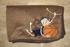 Lambs & Ivy Monkey Basketball Baby Blanket Brown Braided Cord Edge Vines Ball B