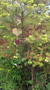 GARDEN  MIRRORS - Hanging silver Hearts LARGE