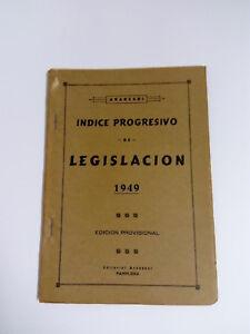 Aranzadi - Index Progressive Of Legislation 1949 - Edition Provisional 96 Pages