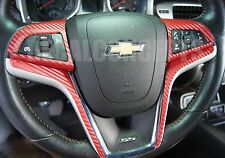 2012-2015 Camaro Red Carbon Fiber Full Steering Wheel Accent Decal Cover Wrap