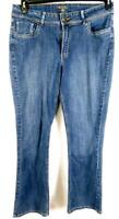 Riders blue women's plus size embroidered boot cut spandex denim jeans 16  M