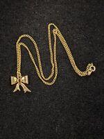 Vintage Gold Tone Red Rhinestone Birthstone Bow Pendant Necklace 12476