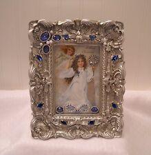 "Framed Jewelry Postcard 1900  Repro-"" Christmas Angels ""  Flower Arrangement"