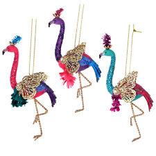3 x Gisela Graham Animal Fantasy Jewel & Gold Flamingo Christmas Decorations