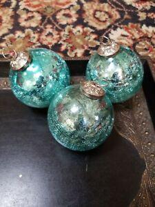 "MINT /""POTTERY BARN/"" Mercury Glass Balls Christmas Tree Ornaments in Box of 6."