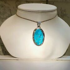Large BIG Ladies Father Blue Sky Sterling Silver 925 Turquoise Pendant necklace