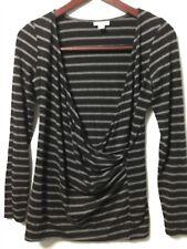 A Pea In The Pod Womens Shirt Black Stripe V Wrap Size L