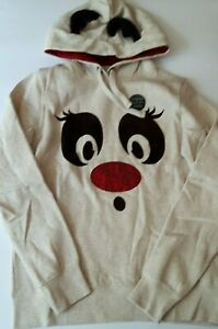Novelty Reindeer Animal Graphic Hoodie With 3D Horns & Glass Beads Nose Size 12
