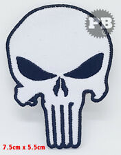 #306 The Punisher White Skull, EMBROIDERED Iron on/Sew PATCH UK Seller