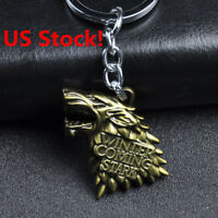 US! HBO Game of Thrones House Stark Head 3D Ring Gold Metal Keyring Fans Gift