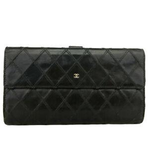 CHANEL Bicolore Quilted Matelasse Black Lambskin Long Bifold Wallet /B1777