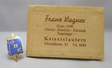 FRANZ WAGNER GOLD TONE & ENAMEL PETITE OBE BOOK & QUILL PIN BROOCH WITH BOX **