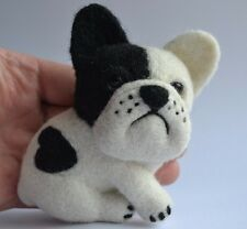 Brooch French Bulldog Dog Handmade Artist Neede Felted Wool Miniatur Stuffed 4in
