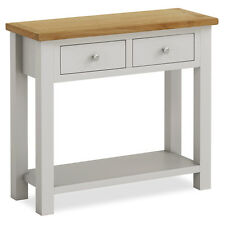 Farrow Grey Console Table / Oak Top / Solid Wood Stone Painted Hall Table / New