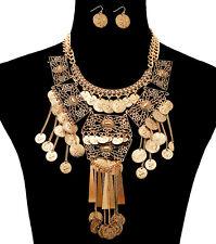 HOT!! Statement Celebrity Gold COINS CHARM Bib Necklace Set By Rocks Boutique
