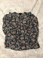 J. Crew Petite Ruffle-Front Top In Paisley Floral Item H4109 Size PXS