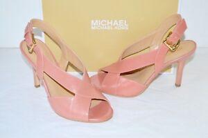 New $99 Michael Kors Becky Sandal Light Rose Pink Leather Criss Cross sz 6.5