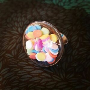 Unique CONFETTI CANDY SHAKER RING adjustable HANDMADE sweet GLASS handmade DOME