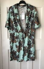 Zara Sea Green Floral Print Textured Tunic Dress Size S
